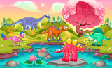 Fototapeta Child room - Group of funny dinosaurs in a natural landscape
