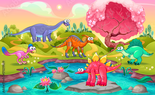 Poster Kinderkamer Group of funny dinosaurs in a natural landscape