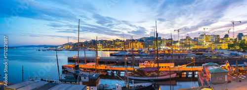 Photo  Port of Oslo city in Norway