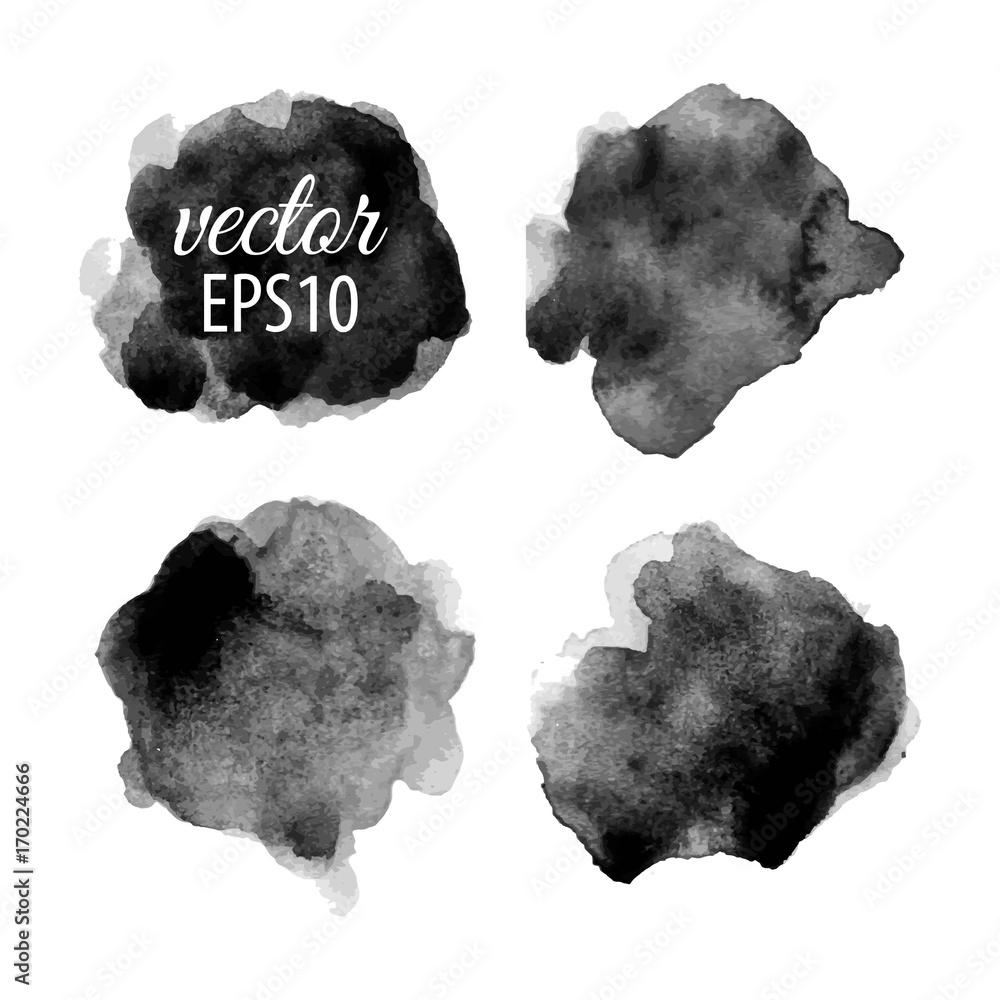 Set Of Abstract Black Ink Blots Foto Poster Wandbilder Bei