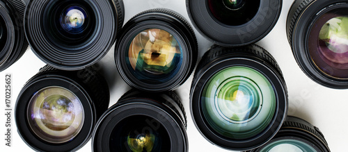 Digital lens isolated on white background Canvas Print