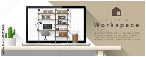 Interior Design Of Modern Office Workplace Vector Illustration
