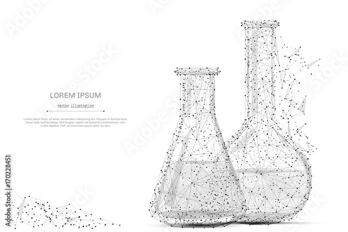 Fotografia  Test tubes isolated from low poly wireframe on white background