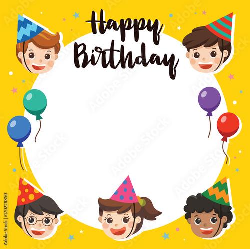 Happy Birthday Beautiful Kids Greeting Funny Character
