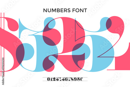 Cuadros en Lienzo Font of numbers in classical french didot or didone style with contemporary geometric design