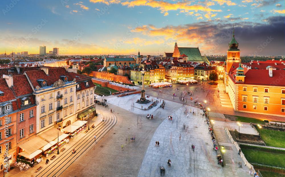 Fototapety, obrazy: Rynek Starego Miasta, Zamek Królewski o zachodzie słońca
