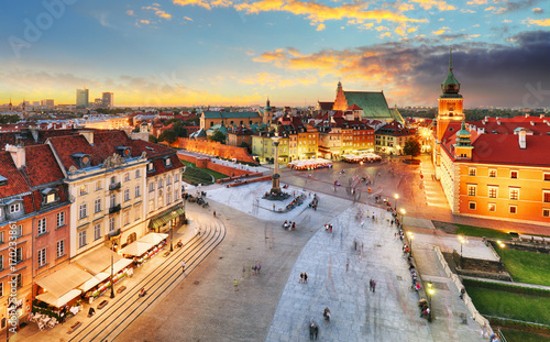 Warsaw Old Town square, Royal castle at sunset, Poland
