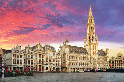 Brussels, Grand Place in beautiful summer sunrise, Belgium