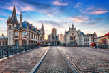 Fototapeta Miasto - Ghent, Belgium at day, Gent old town