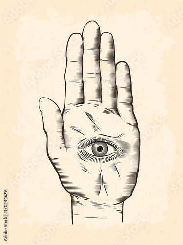vintage engraving style hamsa spiritual hand with the all seeing eye