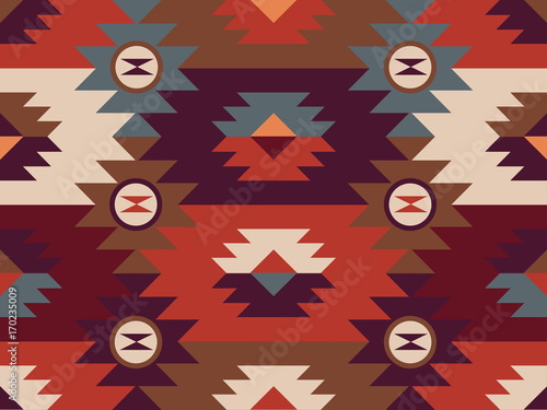 Aluminium Prints Boho Style Abstract ethnic pattern. Background in navajo style