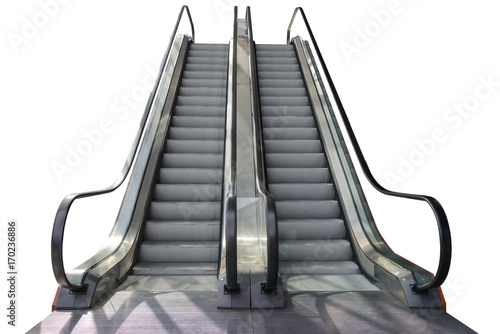 Fototapeta escalator step outside shopping mall isolated on white background with clipping