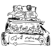 Just Married Graphic Illustrat...