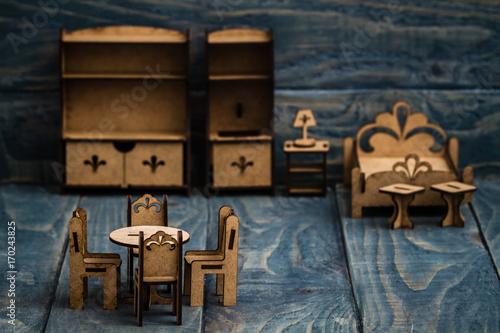Photo  Miniature Wooden Furniture for Children to Paint and Enjoy