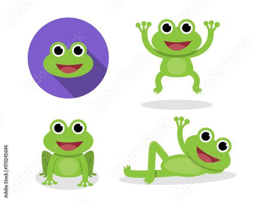 Set zielona żaba w kreskówka stylu, wektor