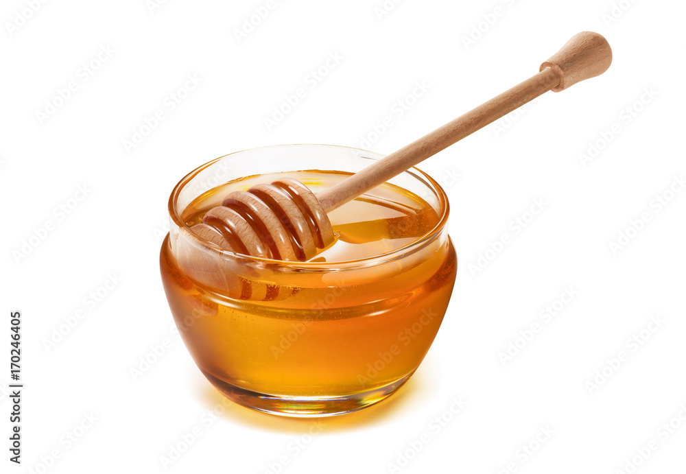 Fototapety, obrazy: Honey pot and dipper isolated on white