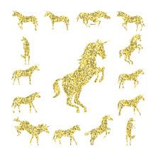 Set Gold Unicorn Silhouette Is...