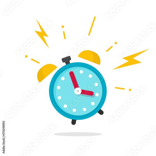 Fototapeta Alarm ringing icon vector illustration, flat carton alarm clock bells sound isolated on white obraz