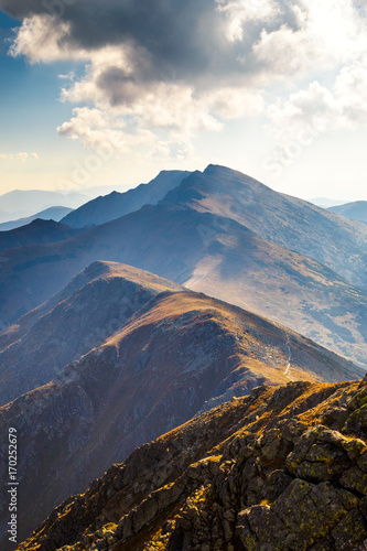 Poster Oceanië Mountain ridge with the highest peak Dumbier of the Low Tatras National Park in Slovakia, Europe.