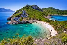 Beautiful Beach Porto Timoni Near Agios Stefanos, Corfu Island, Greece