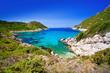 beautiful bay near afionas, porto timoni, corfu island, greece