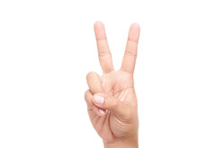 Hand Showing Peace Sign Or Victory Sign