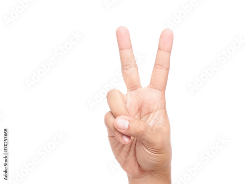 hand showing peace sign or victory sign Fotobehang