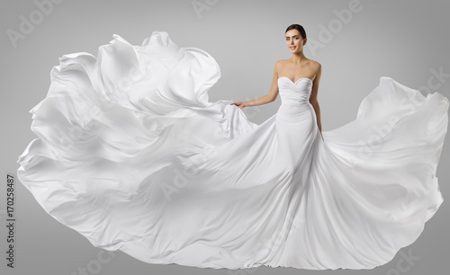 Fotografija  Woman White Dress, Fashion Model in Long Silk Gown, Waving Flying Fabric, Flutte