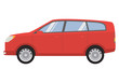 The city car in flat style a vector. Hatchback five-door red color.Cartoon style on a white background.The auto vehicle for family.Modern universal car.