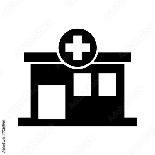 Photo hospital building medical center front view icon illustration