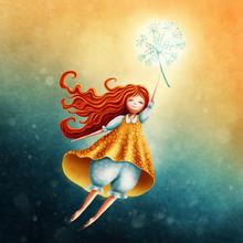 Little Fairy Girl Flying