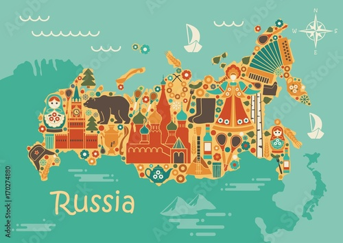 A stylized map of Russia with the symbols of culture and nature Tablou Canvas
