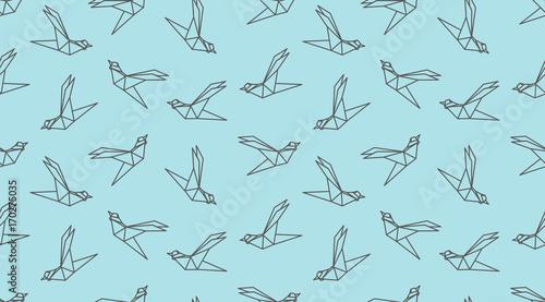 plakat Origami outline bird seamless pattern.