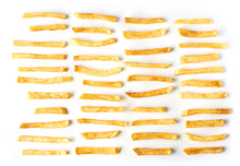 Set Of French Fries Isolated On White Background. Top Flat View.