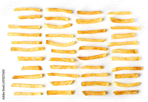 Set of French fries isolated on white background. Top flat view. Fototapet