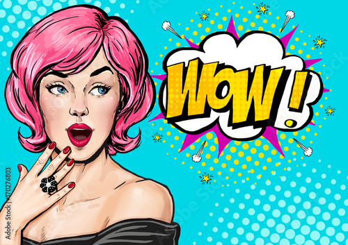Pop Art illustration, surprised girl.Comic woman. Wow.Advertising poster. Pop Art girl. Birthday greeting card. Advertising poster. Pop art background