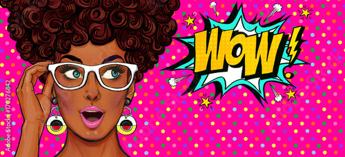 Plakaty Pop Art  pop-art-illustration-surprised-girl-comic-woman-wow-advertising-poster-pop-art-girl-party