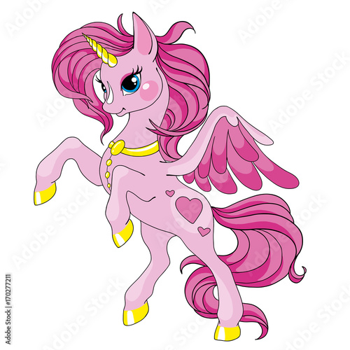 Foto op Canvas Pony Fairy tale character horse. Cartoon unicorn. Pink unicorn with long mane. Vector isolated. Character is fabulous.
