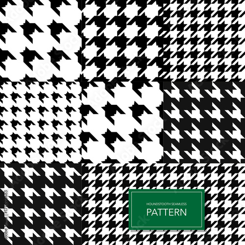 Seamless Black and White Houndstooth Vector Background Poster Mural XXL