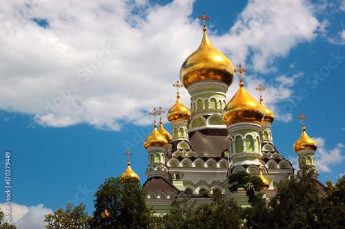 Foto op Plexiglas Kiev Saint Nicholas Orthodox Cathedral of the Pokrovsky Intercession Monastery and nunnery in Kiev, Ukraine