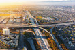 Aerial view of traffic on a highway in Los Angeles, CA
