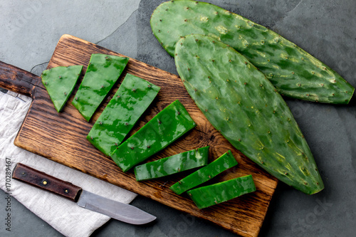 Spoed Foto op Canvas Cactus Leave of cactus nopales. Mexican food and drink ingredient. top view