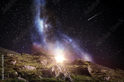 Foto op Aluminium Aubergine rocky landscape over night sky or space