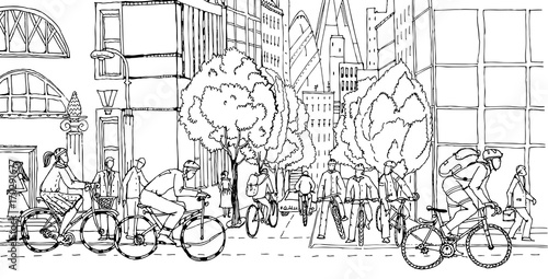 Office workers commute to the City centre by bikes Wallpaper Mural