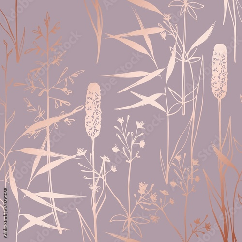 Obraz na plátně Vector pattern with wildflowers imitating the surface of pink gold