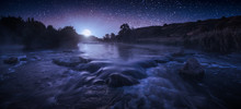 Beautiful Starry Night Above The River
