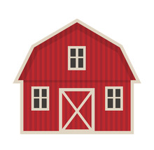 Farm Building Icon Flat Style....