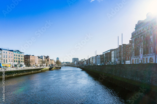 Photo  DUBLIN, IRELAND - March 31, 2017: Dublin City Center and river Liffey,Ireland