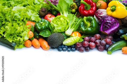 Fotobehang Groenten Various fresh fruits and vegetables organic for eating healthy