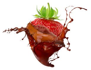 Panel Szklany Owoce strawberry in chocolate splash isolated on a white background